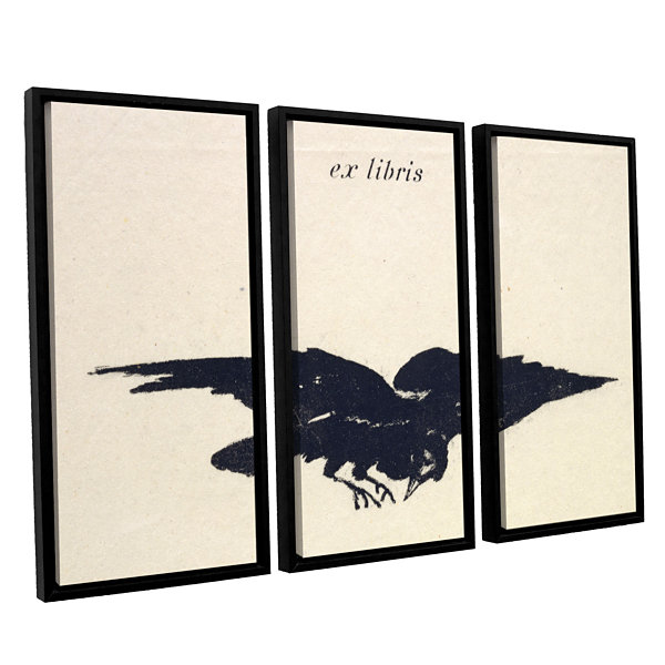 Brushstone Le Corbeau (The Raven) 3-pc. Floater Framed Canvas Wall Art