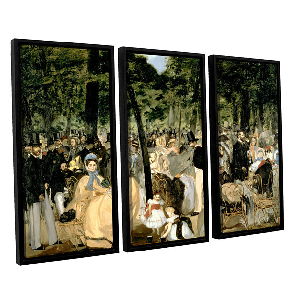 Brushstone Music in The Tuileries 3-pc. Floater Framed Canvas Wall Art