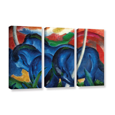 Brushstone Big Blue Horse 3-pc. Gallery Wrapped Canvas Wall Art
