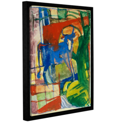 Brushstone Blue Cow Gallery Wrapped Floater-FramedCanvas Wall Art
