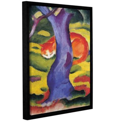 Brushstone Cat Behind Tree Gallery Wrapped Floater-Framed Canvas Wall Art