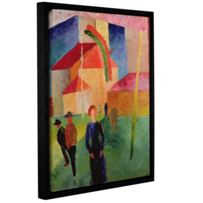 Brushstone Church Decorated with Flags Gallery Wrapped Floater-Framed Canvas Wall Art