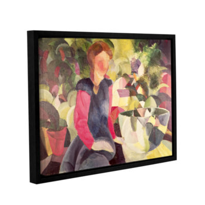 Brushstone Girl with a Fishbowl Gallery Wrapped Floater-Framed Canvas Wall Art