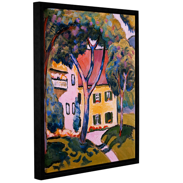 Brushstone House in a Landscape Gallery Wrapped Floater-Framed Canvas Wall Art