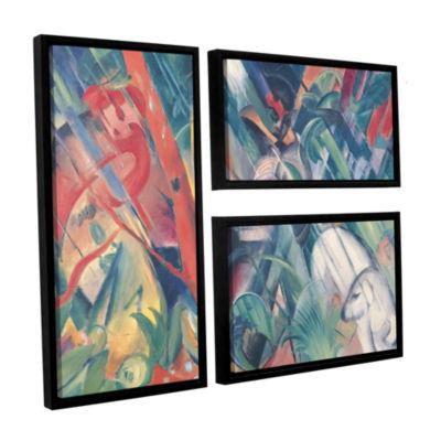 Brushstone In The Rain 3-pc. Flag Floater Framed Canvas Wall Art