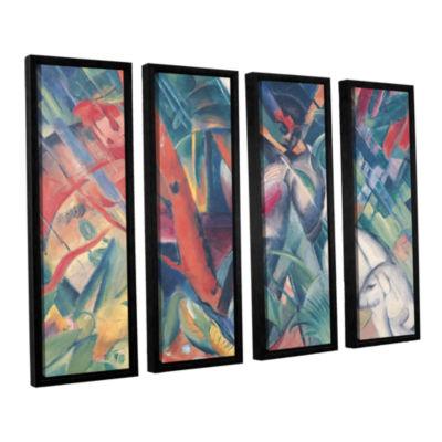 Brushstone In The Rain 4-pc. Floater Framed CanvasWall Art