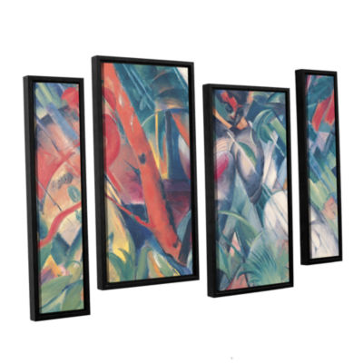 Brushstone In The Rain 4-pc. Floater Framed Staggered Canvas Wall Art