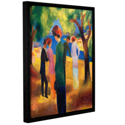 Brushstone Lady in Green Jacket Gallery Wrapped Floater-Framed Canvas Wall Art