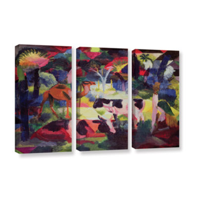 Brushstone Landscape with Cows and a Camel 3-pc. Gallery Wrapped Canvas Wall Art