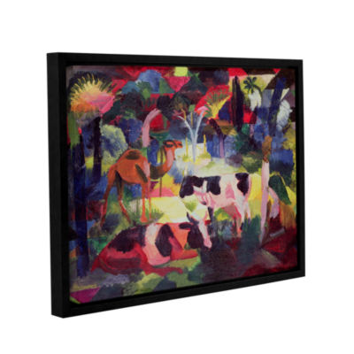 Brushstone Landscape with Cows and a Camel GalleryWrapped Floater-Framed Canvas Wall Art