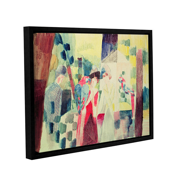 Brushstone Two Women and a Man with Parrots Gallery Wrapped Floater-Framed Canvas Wall Art