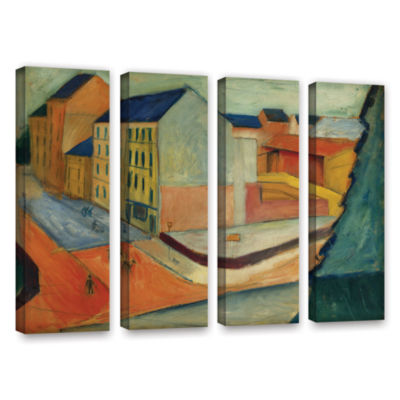 Brushstone Unsere Strasse Mit Reitbahn Bonn 4-pc.Gallery Wrapped Canvas Wall Art