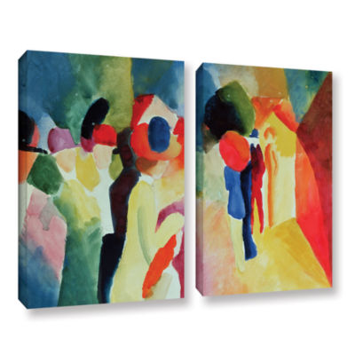 Brushstone Woman with a Yellow Jacket 2-pc. Gallery Wrapped Canvas Wall Art