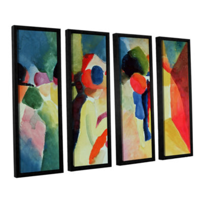 Brushstone Woman with a Yellow Jacket 4-pc. Floater Framed Canvas Wall Art