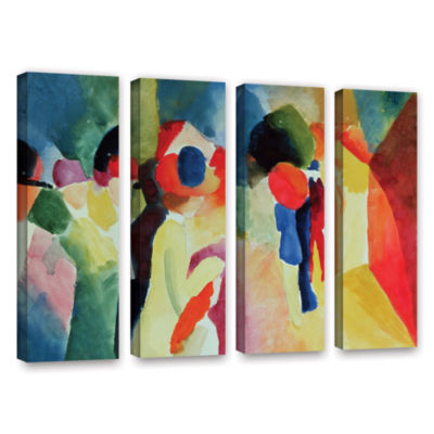 Brushstone Woman with a Yellow Jacket 4-pc. Gallery Wrapped Canvas Wall Art