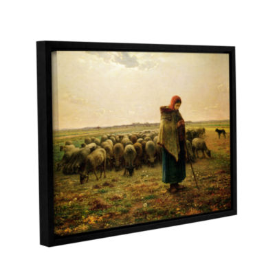 Brushstone Sheperdess with Her Flock Gallery Wrapped Floater-Framed Canvas Wall Art