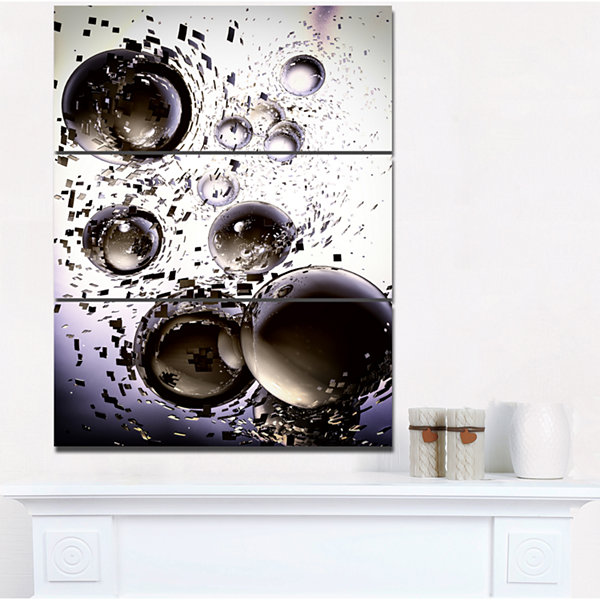 Design Art Dark 3D Circles Abstract Canvas Art Print - 3 Panels