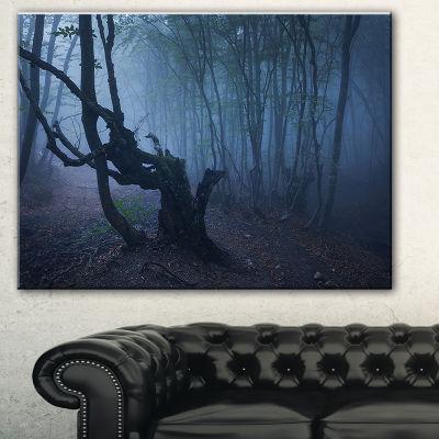 Design Art Dark Autumn Foggy Forest Landscape Photography Canvas Print