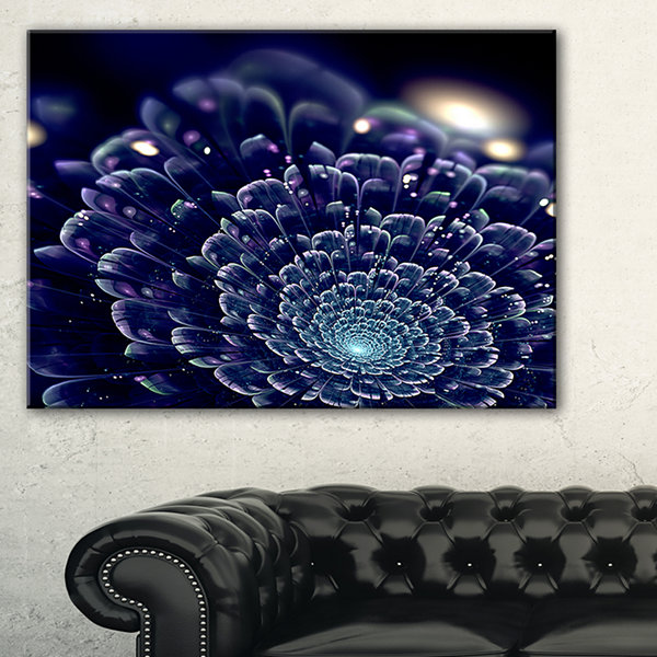 Designart Dark Blue Abstract Fractal Flower FloralCanvas Art Print
