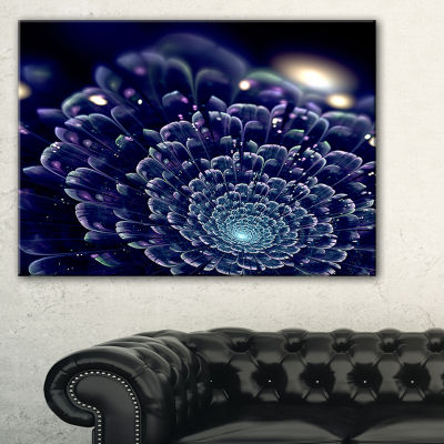 Designart Dark Blue Abstract Fractal Flower FloralCanvas Art Print - 3 Panels