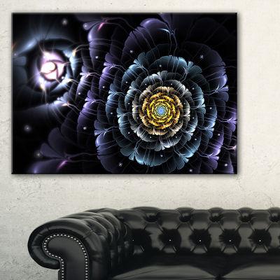 Designart Dark Blue Fractal Flower In Dark FloralCanvas Art Print