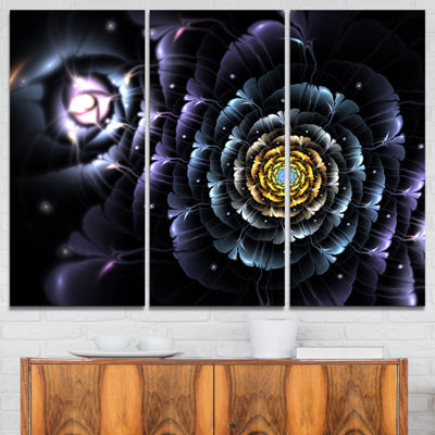 Designart Dark Blue Fractal Flower In Dark FloralCanvas Art Print - 3 Panels