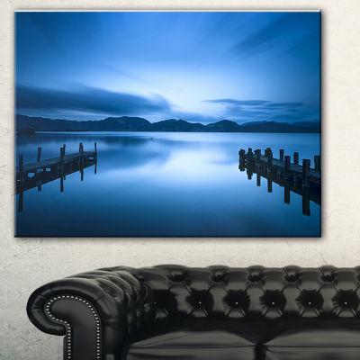 Designart Dark Blue Sea And Piers Seascape CanvasArt Print - 3 Panels