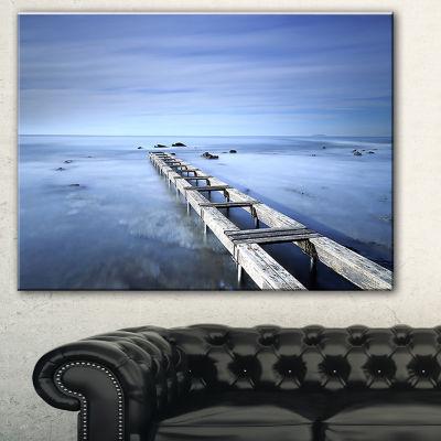 Design Art Dark Blue Sky And Large Pier Seascape Canvas Art Print