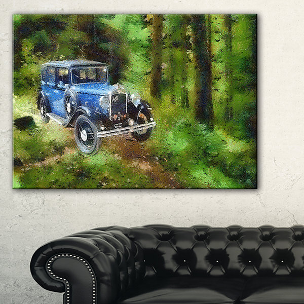Designart Dark Blue Vintage Car Oil Painting CarCanvas Art Print - 3 Panels
