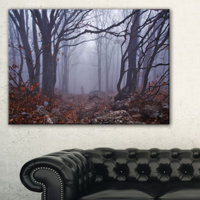 Designart Dark Foggy Forest In Autumn Landscape Photography Canvas Print - 3 Panels