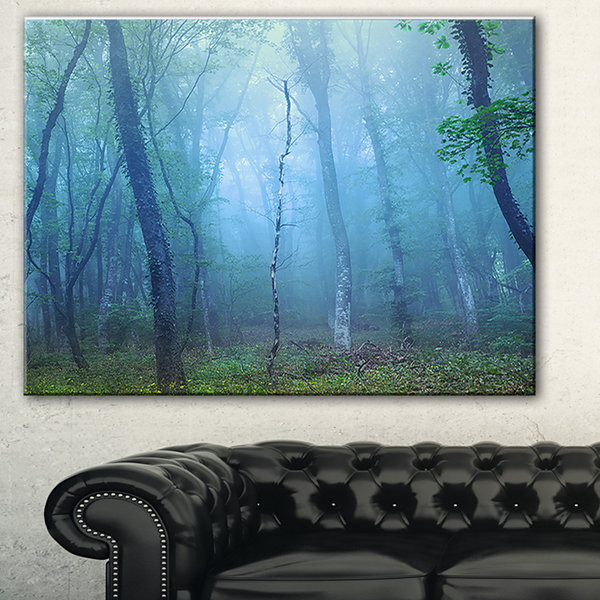 Designart Dark Foggy Forest Trees Landscape Photography Canvas Print - 3 Panels
