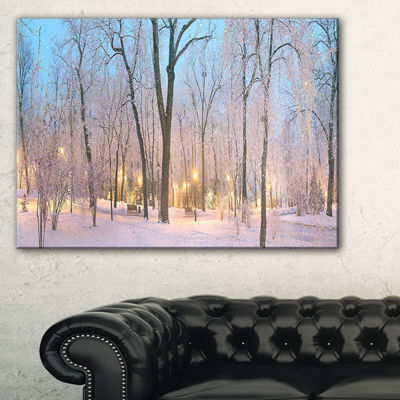 Designart Dark Foggy Mariinsky Garden Landscape Photography Canvas Print - 3 Panels