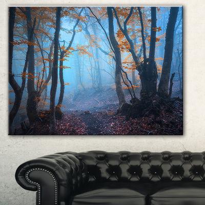 Design Art Dark Forest With Orange Leaves LandscapePhotography Canvas Print - 3 Panels