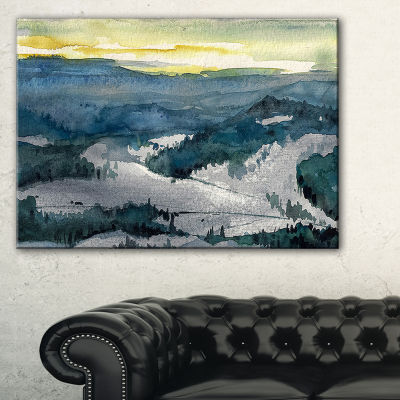Designart Dark Mountains Watercolor Landscape Painting Canvas Print - 3 Panels