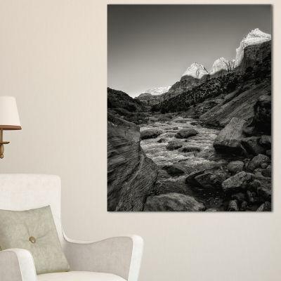 Designart Dark Rapid Virgin River Landscape Photography Canvas Art Print - 3 Panels