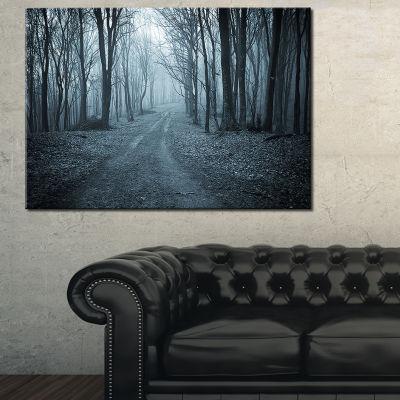 Designart Dark Scary Forest With Fog Landscape Photography Canvas Art Print - 3 Panels