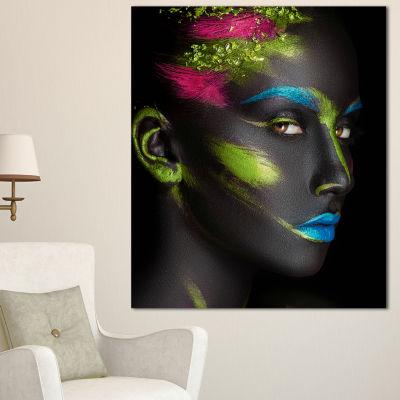 Designart Dark Skinned Girl With Make Up AbstractPortrait Canvas Print