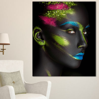 Designart Dark Skinned Girl With Make Up AbstractPortrait Canvas Print - 3 Panels