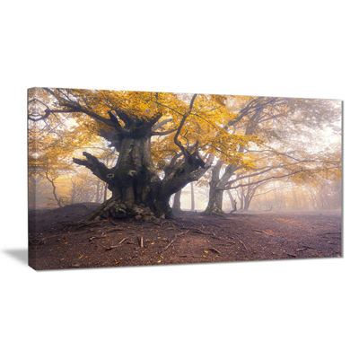 Designart Dark Tree With Yellow Leaves LandscapePhotography Canvas Print