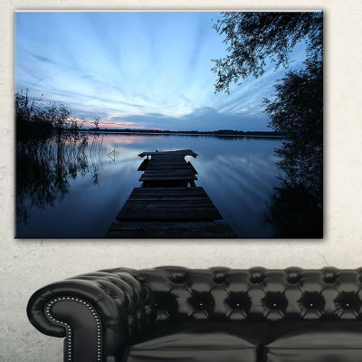 Designart Dark Wooden Pier In Lake Seascape CanvasArt Print - 3 Panels