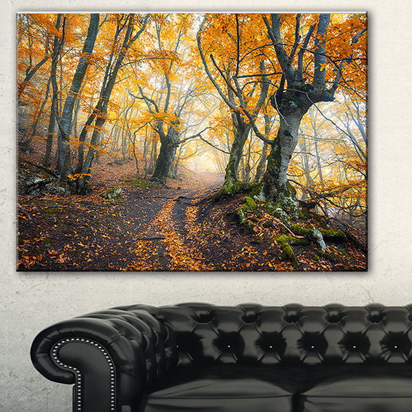 Designart Dark Yellow Old Forest In Fog LandscapePhotography Canvas Print - 3 Panels