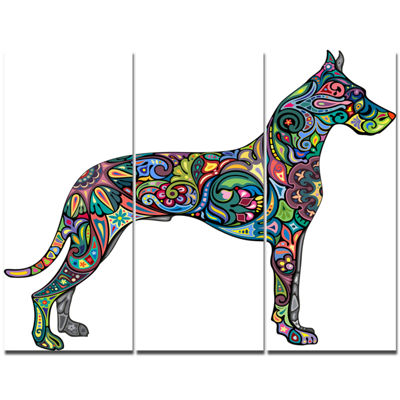 Designart Decorative Dog Animal Canvas Art Print-3Panels