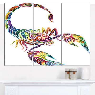 Designart Decorative Scorpion Animal Canvas Art Print - 3 Panels