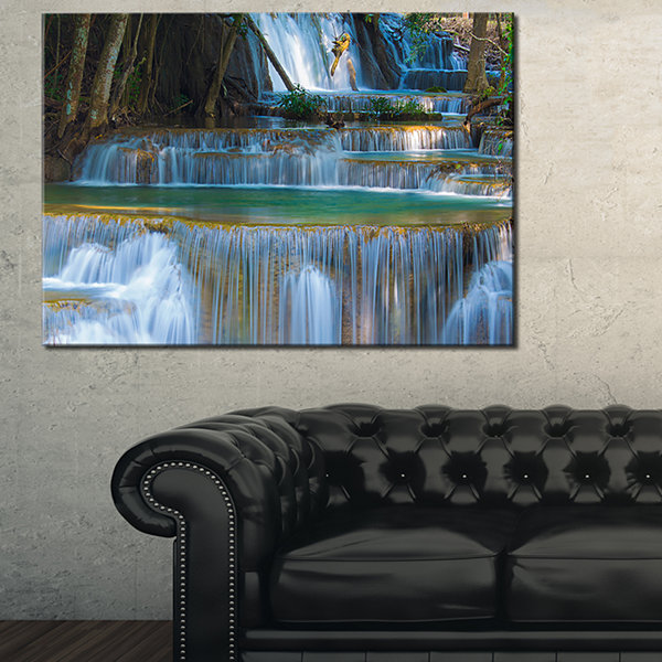 Designart Deep Forest Waterfall Thailand LandscapePhotography Canvas Print - 3 Panels