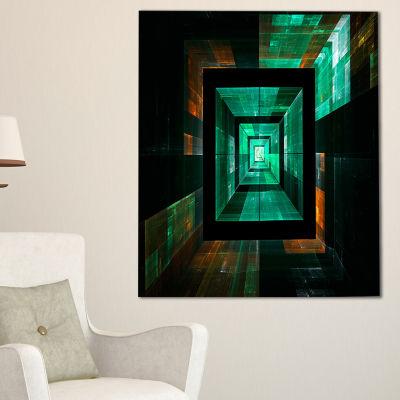 Designart Deep Green Infinite Cube Abstract CanvasArt Print - 3 Panels