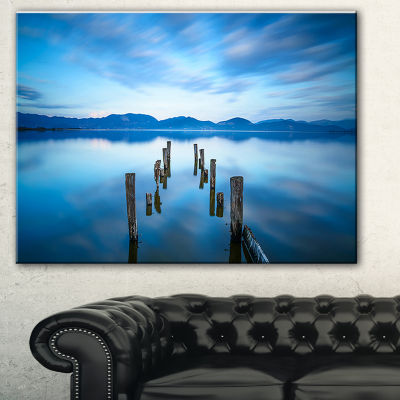 Designart Deep Into The Sea Pier Seascape CanvasArt Print - 3 Panels