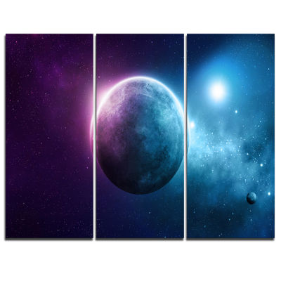 Designart Deep Space Planet Space Canvas Art Print- 3 Panels