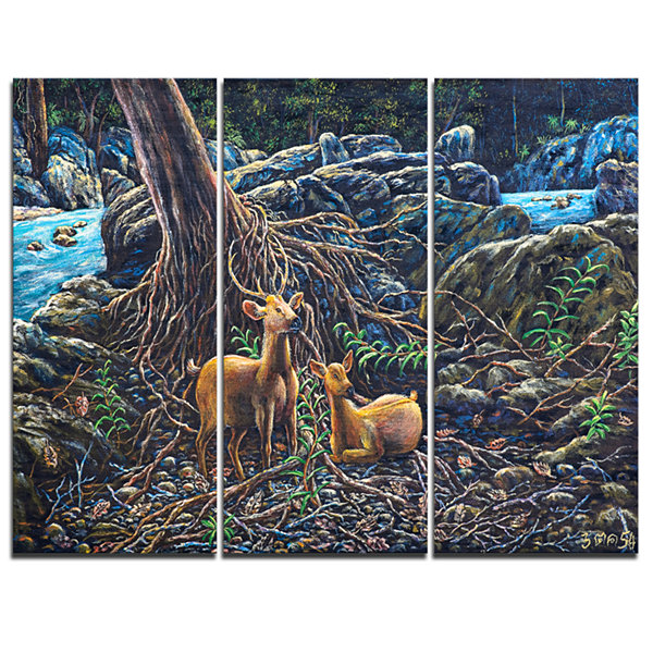 Designart Deer In Forest Landscape Painting CanvasArt Print - 3 Panels