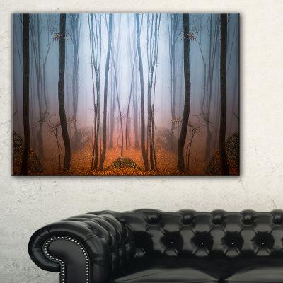 Designart Dense Foggy Autumn Forest Landscape Photo Canvas Art Print