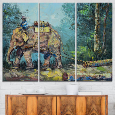 Designart Elephant Dragging Logs Animal Art CanvasPrint - 3 Panels